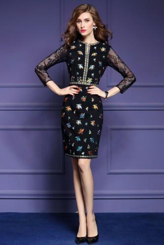 Juoda suknelė su raštais 3XL (VIN166)