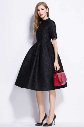 Juoda žakardinė suknelė (VIN1010_1)