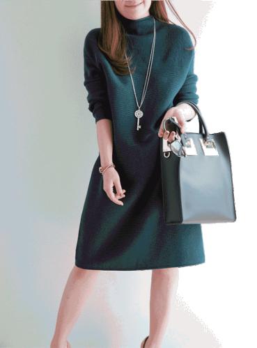 Laisva žalios spalvos megztinio tipo suknelė S-M (VIN185_G)