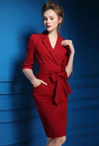 Raudona (juoda) suknelė su kaspinu ir kišenėmis S-XXL  (VIN1167)
