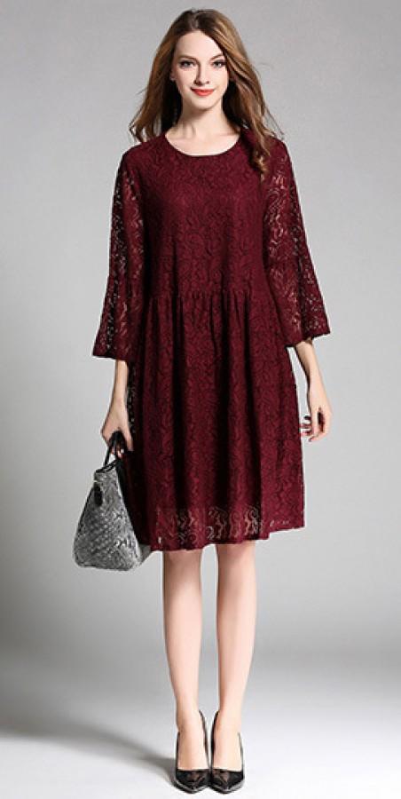 Gipiūrinė suknelė bordo spalvos S-4XL (VIN1007_1)