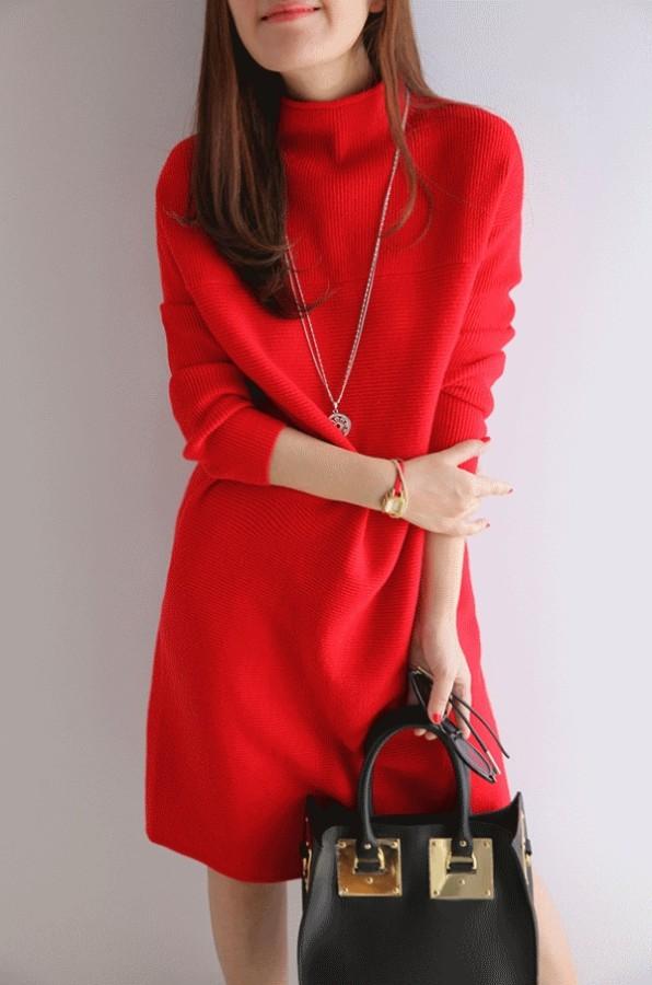 Megztinio tipo raudonos spalvos megzta suknelė S (VIN185_R)