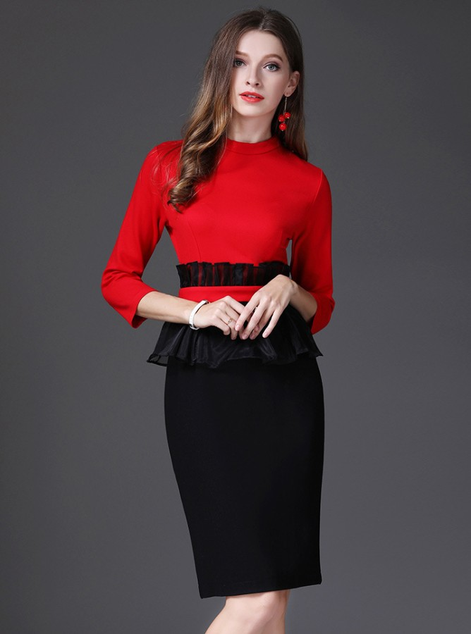 Raudona juoda suknelė, puošta organza S-XL  (VIN1308_1)