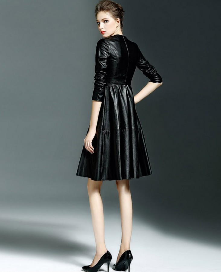 Žalia dirbtinės odos suknelė 2XL/3XL (VIN1477_1)