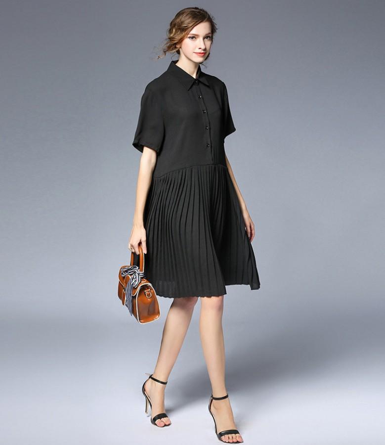 Juoda laisvo kirpimo plisuota suknelė XL (VIN1440_1)