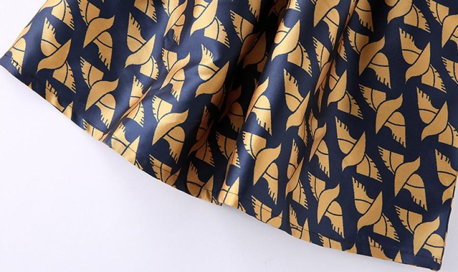 Juoda mėlyna suknelė su paukščių motyvais S (VIN1302)
