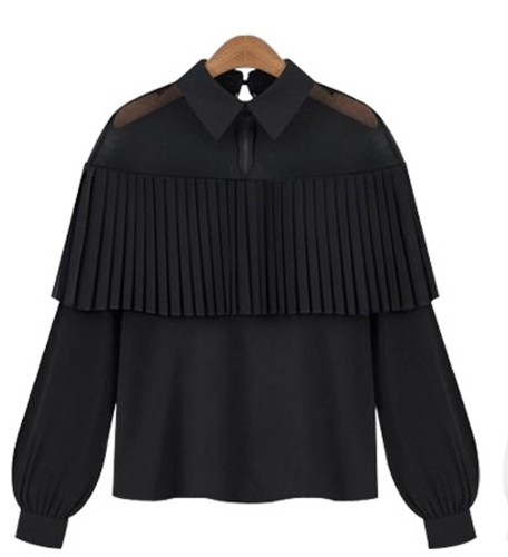 Juodi puošnūs marškinėliai ilgomis rankovėmis S-XL (MAR1004)