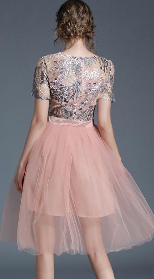 Persiko spalvos siuvinėta, tiulinė suknelė S (VIN1103_1)