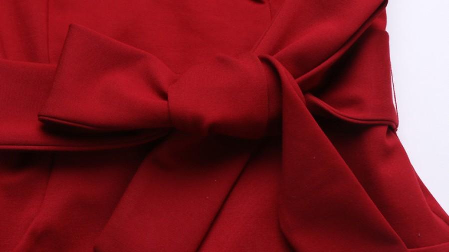 Raudona  suknelė su kaspinu ir kišenėmis XL  (VIN1167_1)