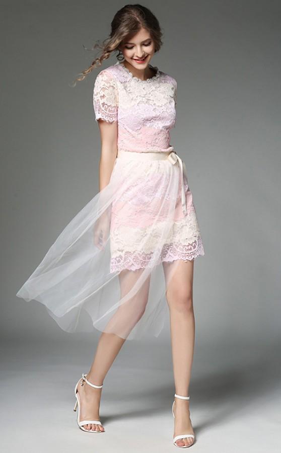 Rausva gipiūrinė suknelė su tiuliniu sijonu  M  (VIN1381_1)
