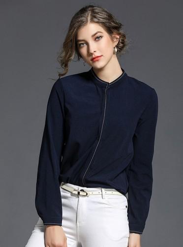 Tamsiai mėlyni marškinėliai ilgomis rankovėmis, trumpesniu priekiu S-L (MAR1021)