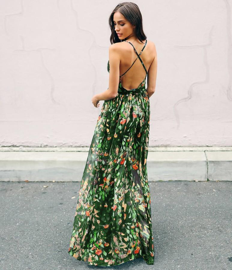 Žalia gėlėta ilga suknelė atvira nugara M  (VIN1429_1)